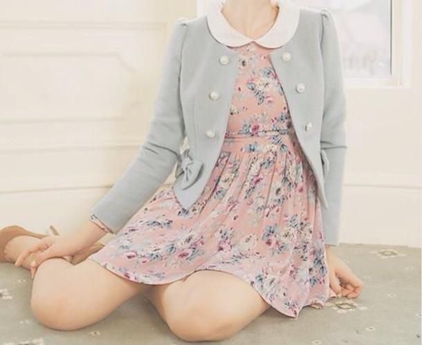 coat blue mint kawaii bow winter outfits jacket dress