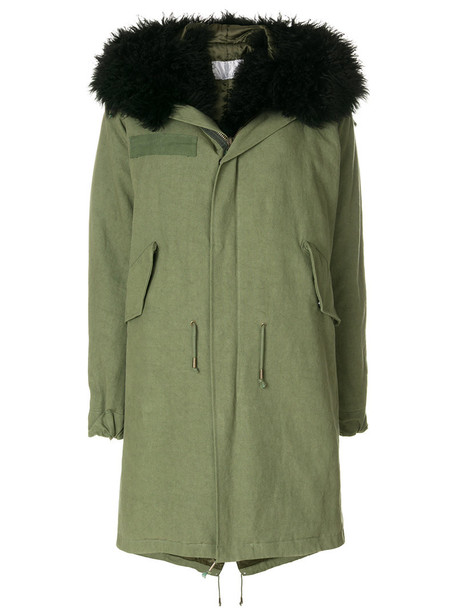 As65 parka women leather cotton green coat