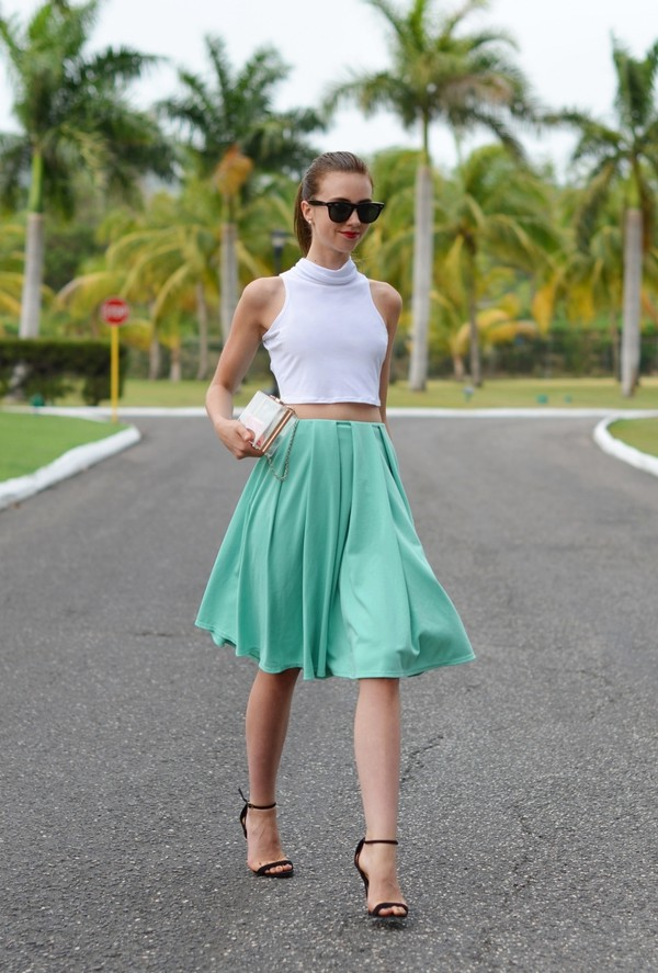 vogue haus top skirt shoes bag jewels sunglasses