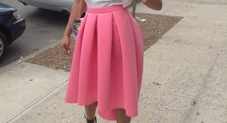 skirt pink pink skirt coral skirt high low skirt pleated skirt