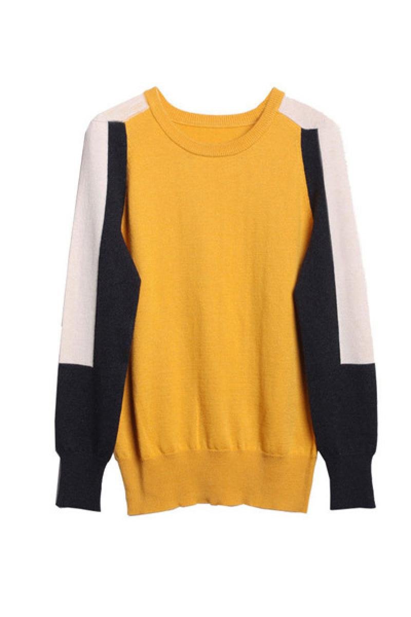 Autumn & Winter New Section Contrast Color Long Sleeve Ladies Knitted Sweater,Cheap in Wendybox.com