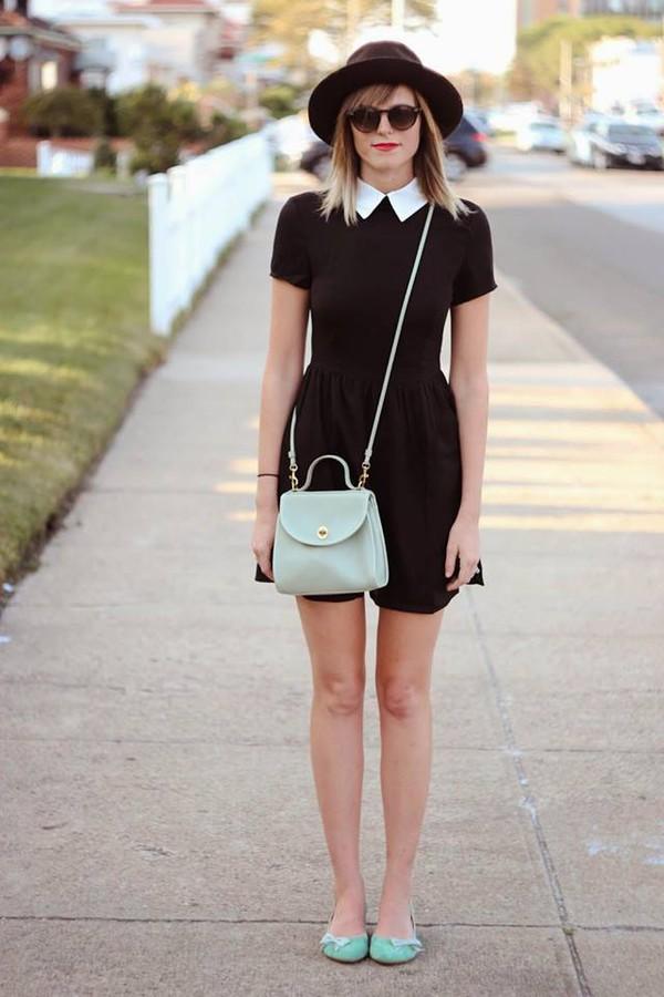 black dress, collar, collared dress, white collar, vintage ...