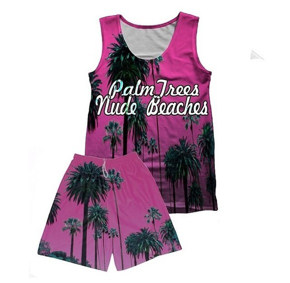 purple dress tank top palm trees palm tree purple shirt purple shorts palm print tree