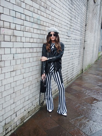 pants tumblr stripes striped pants flare pants top jacket leather jacket black leather jacket bag beret hat sunglasses
