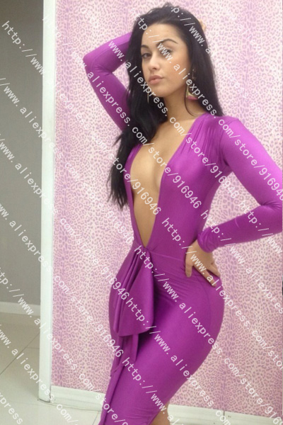 Free Shipping New Fashion 2013 Winter Nightclub Sexy Dress Purple Long Sleeve Bodycon  Dress-in Dresses from Apparel & Accessories on Aliexpress.com
