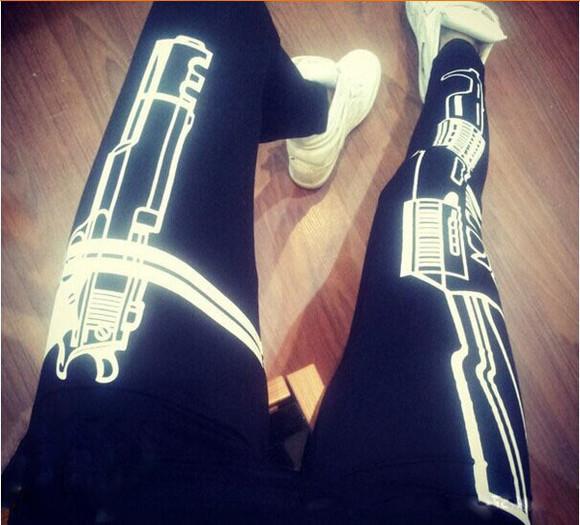black printed leggings sexy leggings slim gun leggings