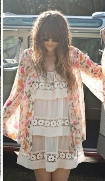 dress bohemian lace floral boho clothes kimono coat hippie boho gypsy
