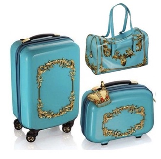 bag suitcase lush blue bag light blue gold sequins decoration pattern fashion holidays all i want i need it now blue and gold luggage wheels big nice stylish pretty cute bag baggage fashionables gold bag holiday shop summer holidays holiday season please help me find this!!!!!!