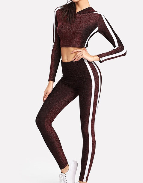 jumpsuit girly two-piece matching set glitter crop tops crop cropped hoodie leggings stripes white