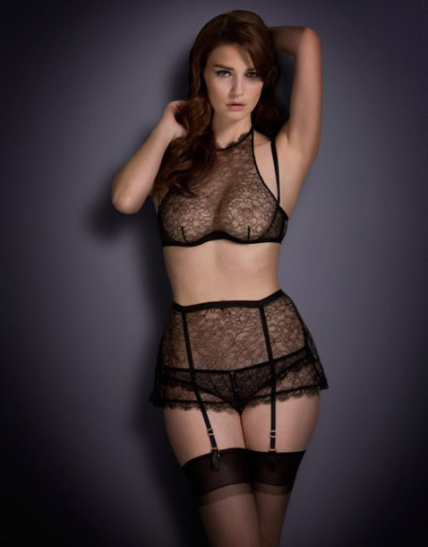 lingerie see through Sheer black