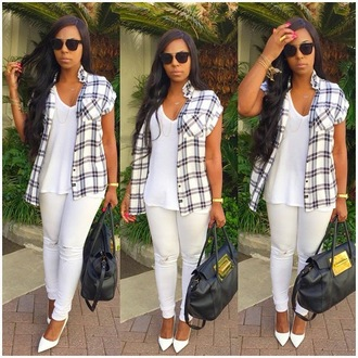 sunglasses ashanti casual and sexy r&b princess plaid black and white slaying hoes baby baby baby