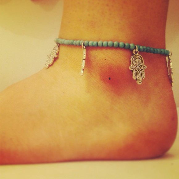 gift jewels hamsahand hamsa charm pretty wedding honeymoon anklet hippy indie grunge girly perfect unique summer sea surf girl surf surf jewellery surf anklet beach jewellery