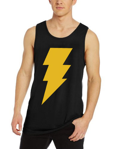 CAPTAIN SHAZAM Superhero Comics Black Tank Top Sleveless