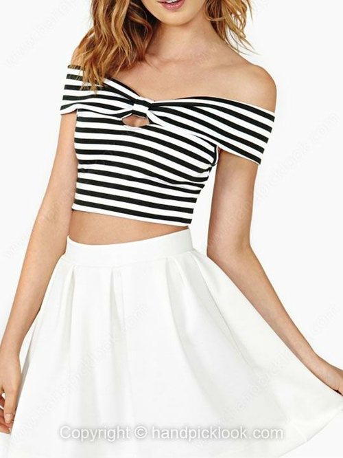 Black and White Off the Shoulder Sleeveless Striped T-Shirt - HandpickLook.com