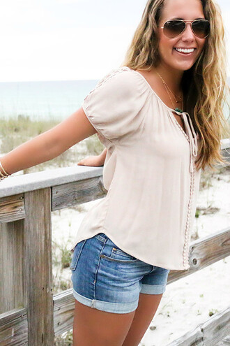 shirt amazinglace amazinglace.com beach summer peasant top taupe