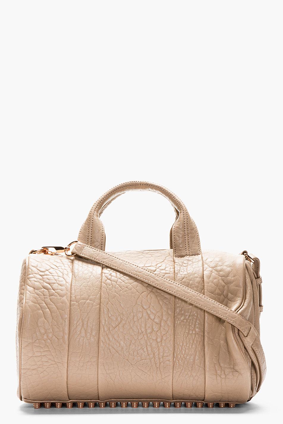 Alexander wang latte pebbled leather rocco bag