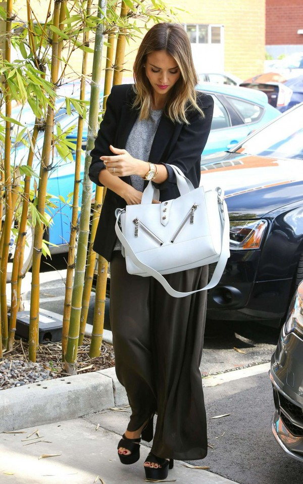 pants wide-leg pants jacket purse jessica alba bag