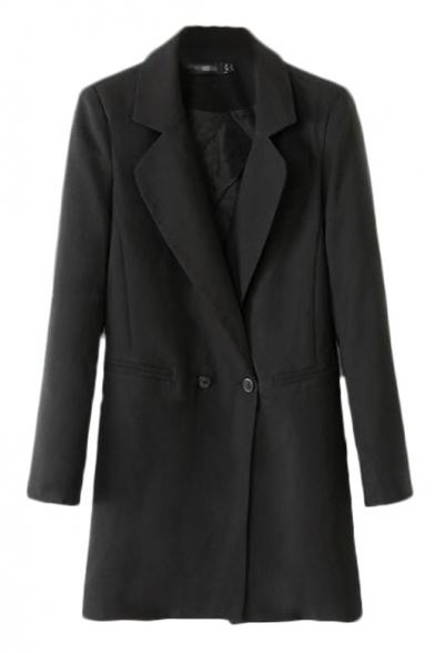 Three button embellished cuffs wrap front longline blazer