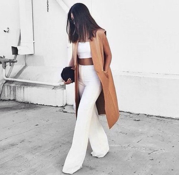 pants white white pants flare pants wide legging cardigan sleeveless blazer blazer tan caramel palazzo pants high waisted palazzo pants