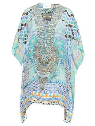 print silk blue top