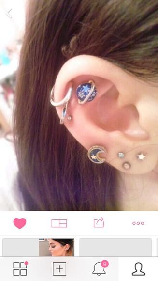 jewels earrings stars space spacegirl saturn rings