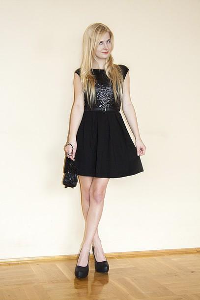 charmeuse blogger little black dress glitter dress pumps shoes