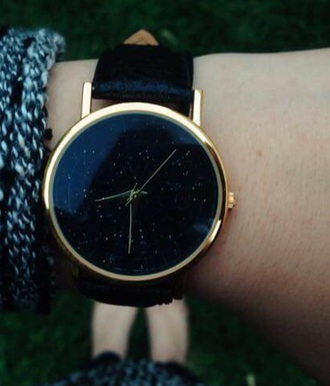 jewels watch woman wrist watch sky stars galaxy print gold black