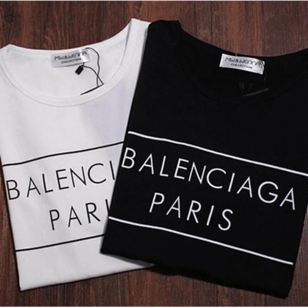 5b3a7dfe1a4 shirt balenciaga paris t-shirt short sleeve black white top