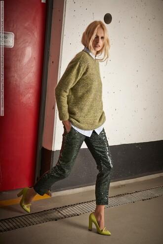 pants sequin pants sequins green pants cropped pants sweater mustard sweater mustard shirt high heels yellow pilgrim shoes high heel loafers
