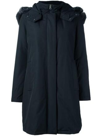 coat fur women cotton blue