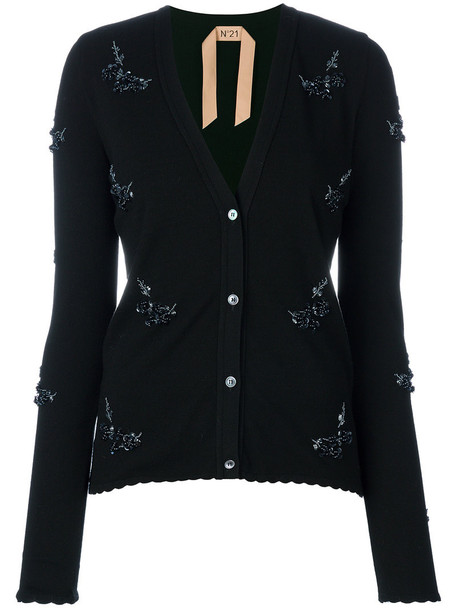 No21 cardigan cardigan women embellished black sweater