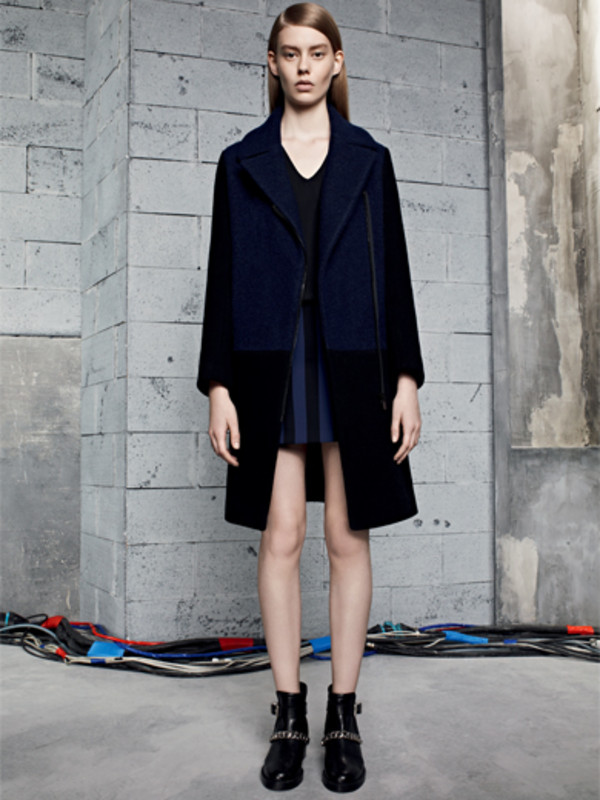 dress blue sandro fashion lookbook coat