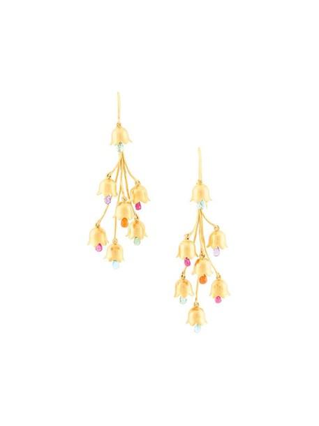 women opal earrings gold flowers grey metallic jewels
