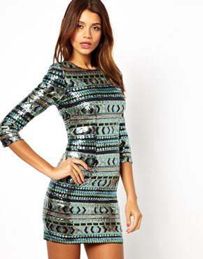TFNC | TFNC Bodycon Mini Dress with Aztec Sequins at ASOS