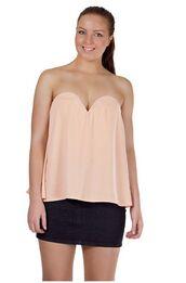 top,light pink,flowy,v neck dress,sweet heart neckline,strapless top
