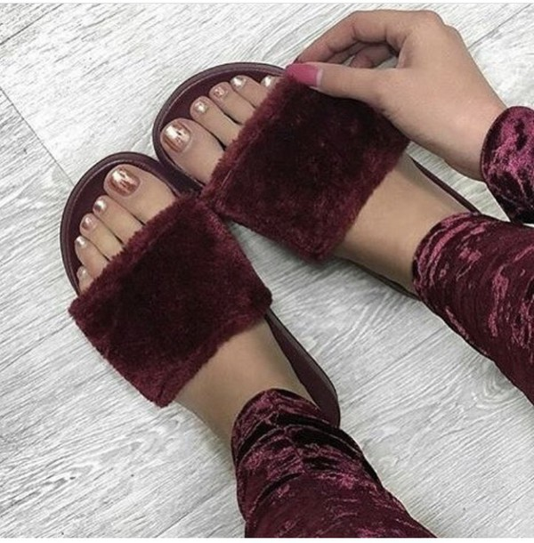 shoes fluffy velvet suede nike fur puma flip-flops