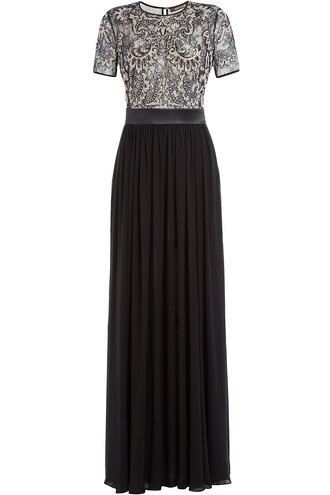 gown embellished lace silk black dress
