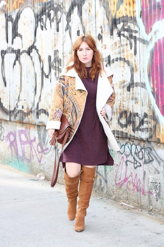 tf diaries blogger sweater shoes jacket bag winter outfits shearling jacket knitted dress brown bag knee high boots shoulder bag