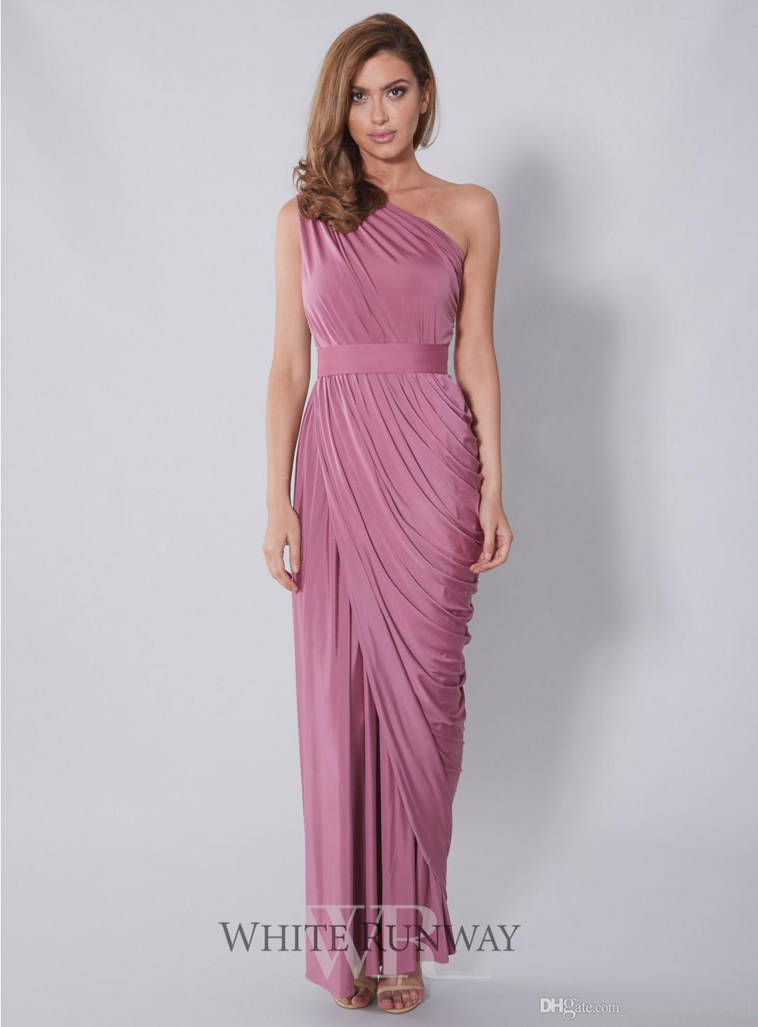 Sexy Long Prom Dresses Mermaid One Shoulder Pleated Cheap Elastic ...
