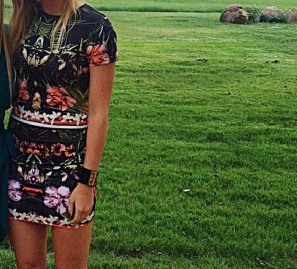 adorable pattern colorful dress bodycon dress want want want floral
