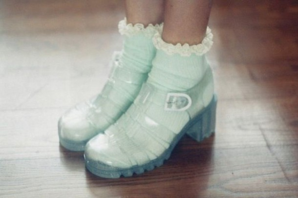 socks cute retro girly jellies grunge hipster vintage shoes frilly frilly socks jelly platforms transparent shoes mint mint socks romantic pastel jellies mid heel sandals