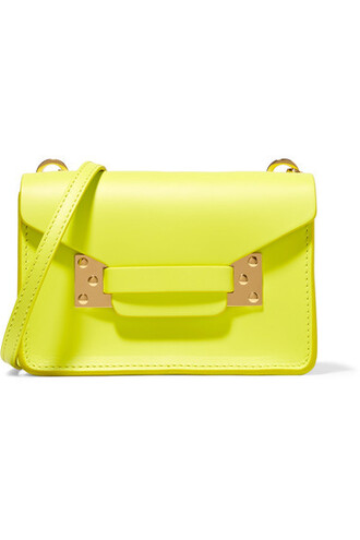 neon bag shoulder bag leather yellow bright