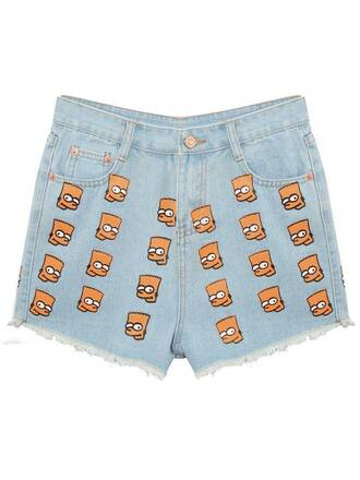 shorts denim jeans ripped jeans short shorts short denim shorts high waisted shorts bart simpson the simpsons fashion