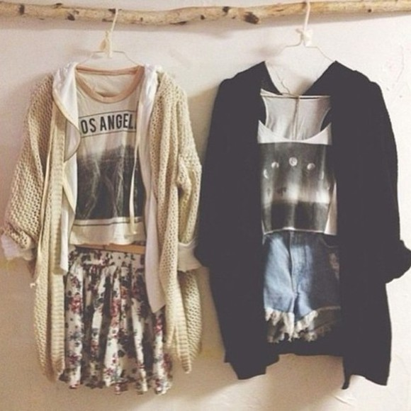 shorts skirt crop tops cute cardigans los angeles floral