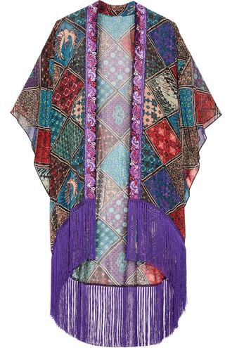 kimono chiffon silk purple top