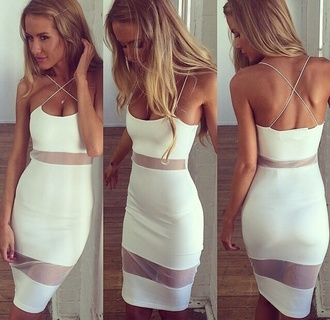 white white dress sexy sheer dress mesh dress strappy gorgeous stunning perfecto lovely dress style pencil dress split dressslit dress where to get this dress so cute! spaghetti strap