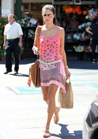 bag dress alessandra ambrosio belt summer outfits