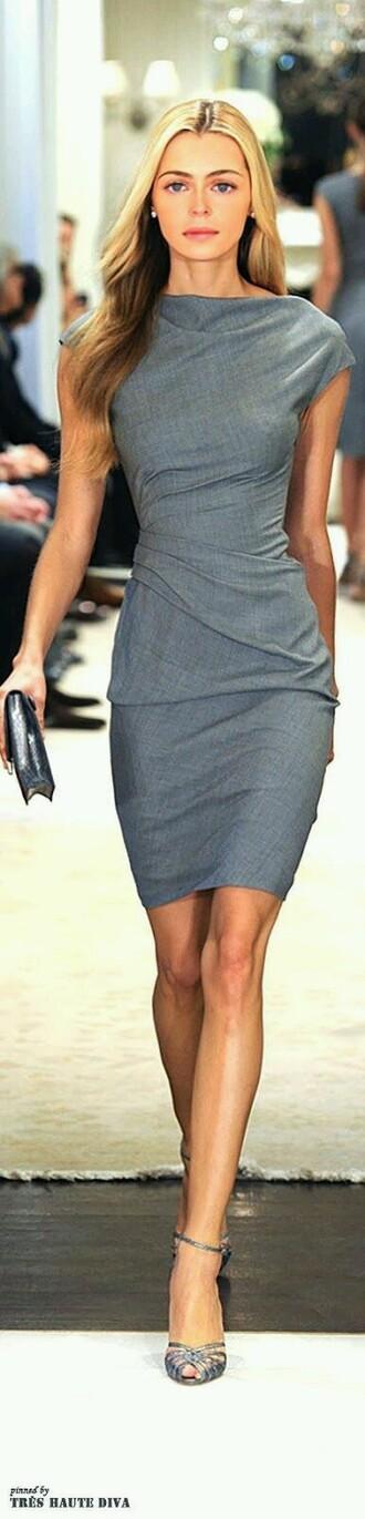 dress grey dress office dress chic classy