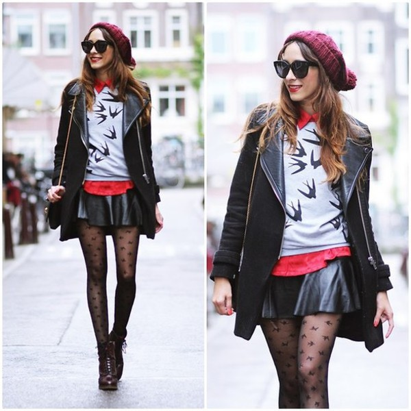 skirt dress coat black sunglasses leggings leather skirt