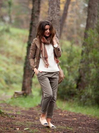 lovely pepa blogger shoes cropped pants blazer tartan scarf